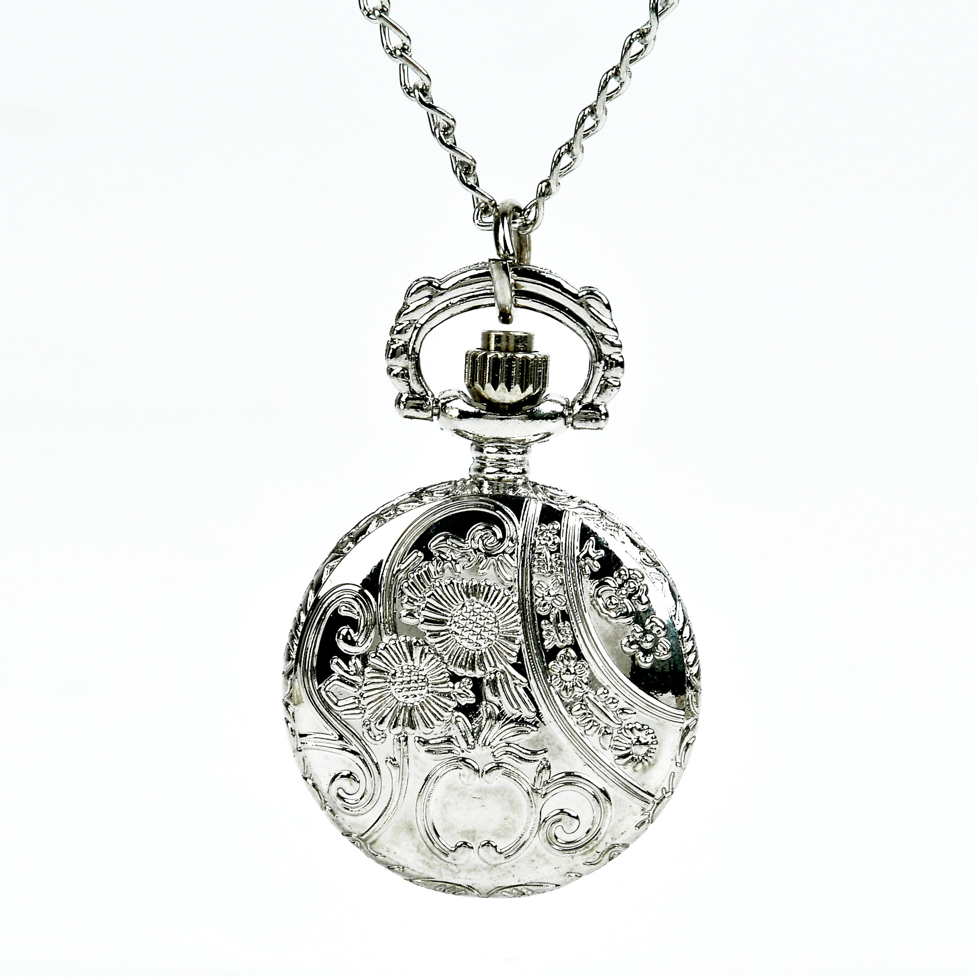 Wild Simple Small Silver Apple Pocket Watch