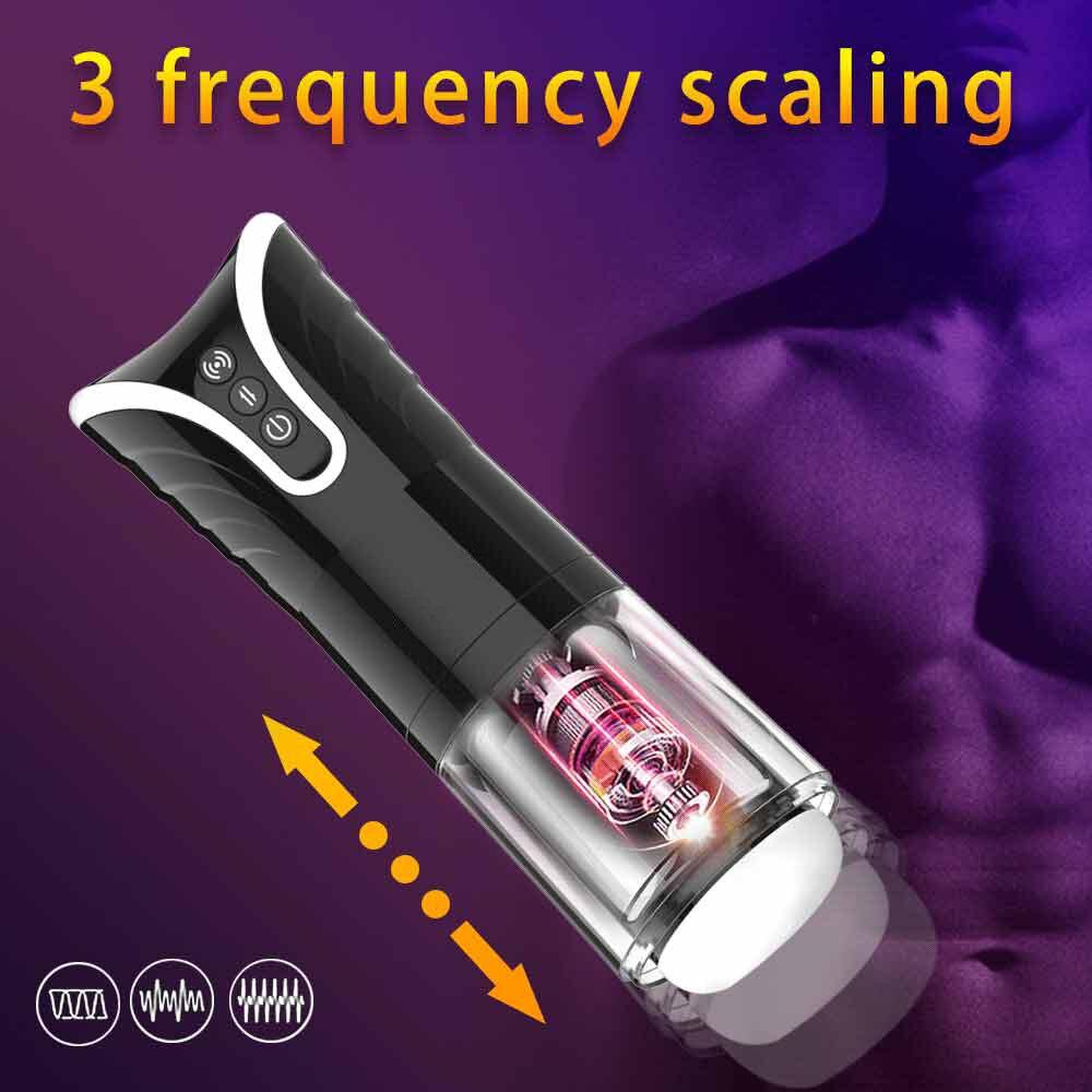 Электрическая телескопическая чашка для мастурбации для мужчин, автоматический Мужской мастурбатор, настоящая Вагина, киска, взрослые сек...