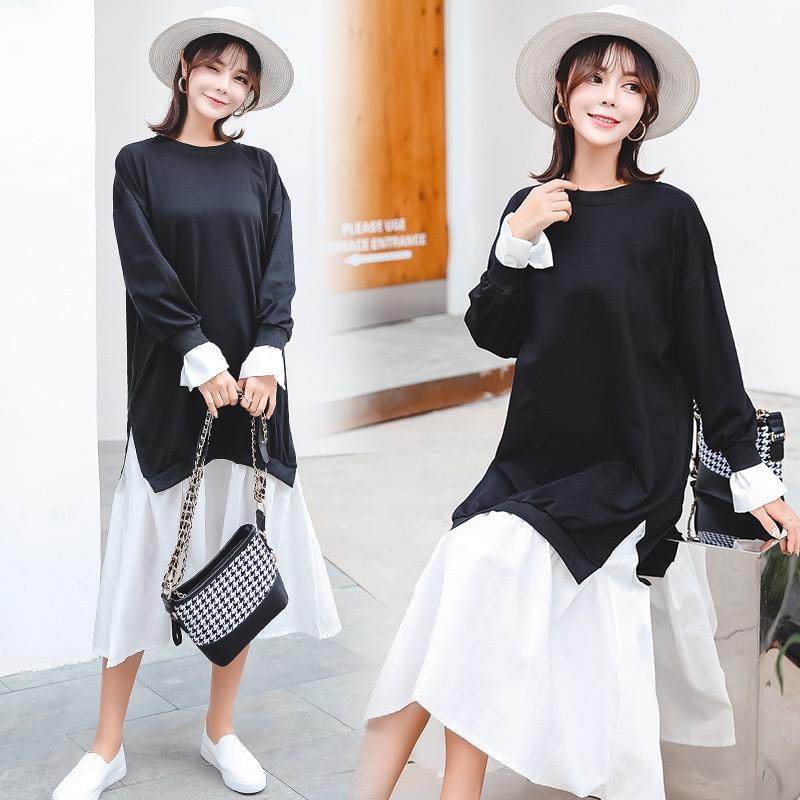 9302 # (Photo Shoot) South Korea Maternity Clothes Spring Fashion Models 2020 New Style Shirt Pregnant Women Hoodie Dress