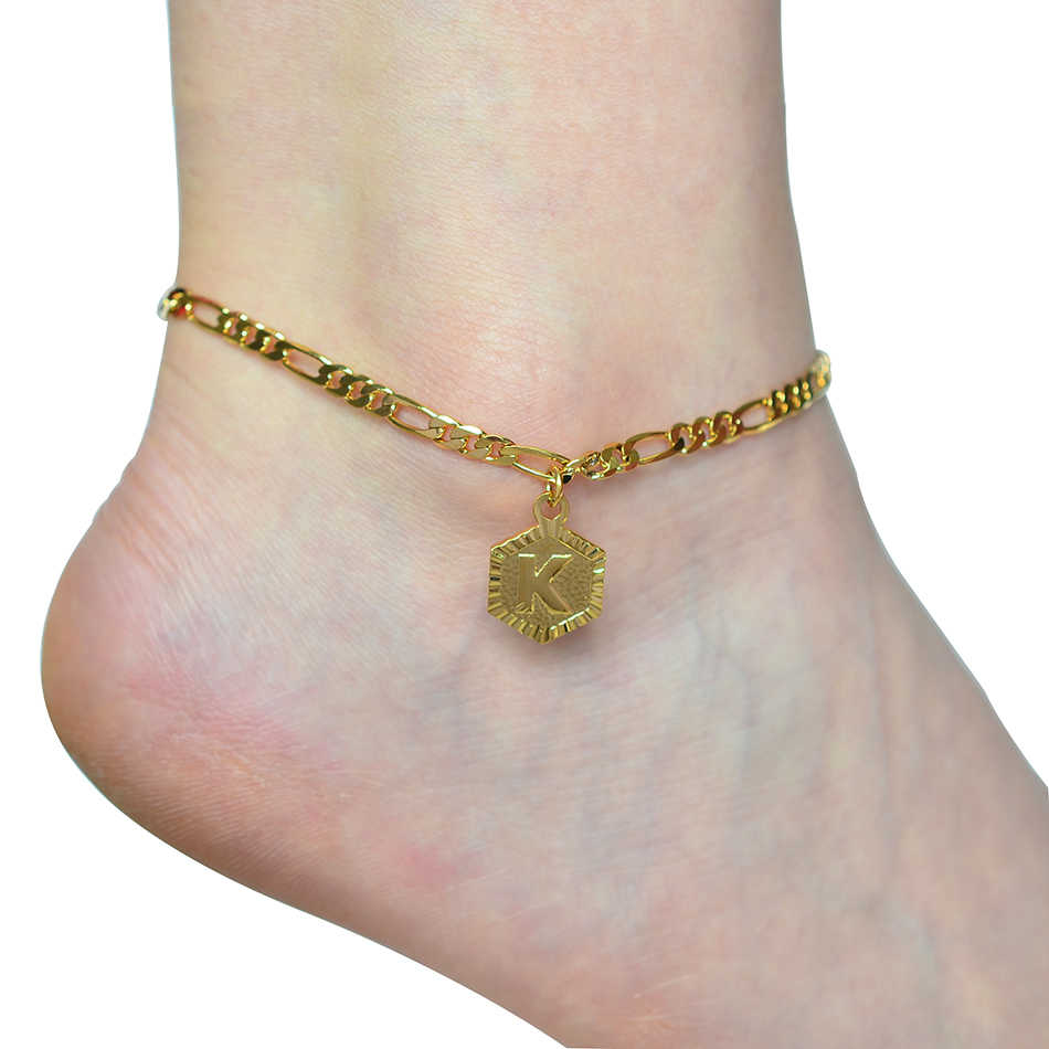 Extender CHAIN A-Z ตัวอักษร Charm ทองคำขาวสร้อยข้อเท้าสร้อยข้อมือผู้หญิง Alphabetble ขาเครื่องประดับเท้าสาว