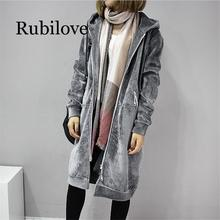 Rubilove 2019 Autumn New Women Thick Warm Hooded Basic Coats jacket Casual Lady Winter Long Fashion Black Fleece Jacket