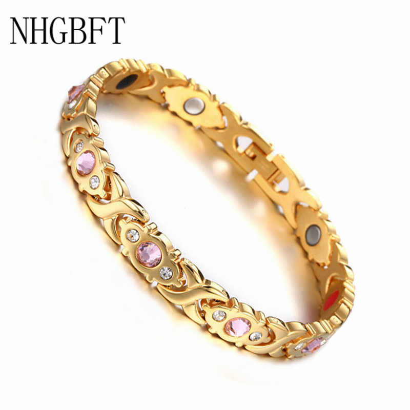 NHGBFT New Arrivals Mens Health Magnetic Bracelet For Women Gold Color Stainless steel Bracelets Charm Jewelry Dropshipping
