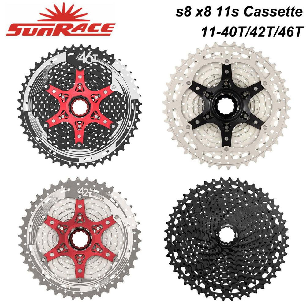Sunrace <font><b>11</b></font> Speed CSMX8 S8 MTB Bike <font><b>Cassette</b></font> 11s 40T 42T 46T Bicycle Freewheel for shimano 11V System Cassete image