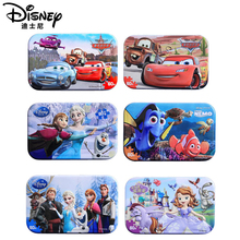 Disney 20 kinds of genuine Mickey Mouse and ice romance 60 pieces wooden puzzle baby toys 3D iron box childrens