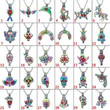30pc Multiple Styles Gun Skull Mermaid Unicorn Butterfly Lotus Pearl Cage Locket Pendant Essential Oil Diffuser Necklace Jewelry(China)