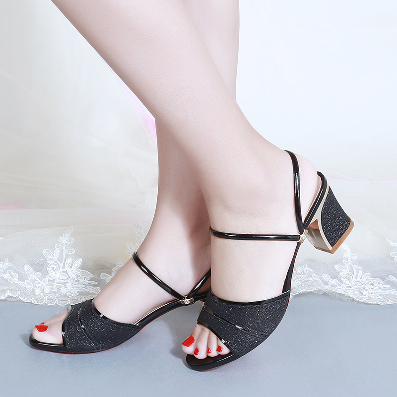 Women Slippers 2020 Summer Shoes Woman Sandals Silver Wedding Shoes Bling Slides Square Heeled Slipper Gold Sandalias Mujer 7247 2