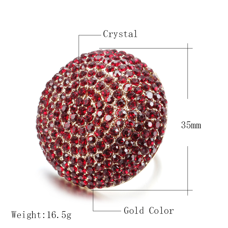 Kinel Fashion Colorful Crystal Women Big Rings Gold Color Morocco Banquet Wedding Ring Statement Jewelry Crystal Gift 2020 New