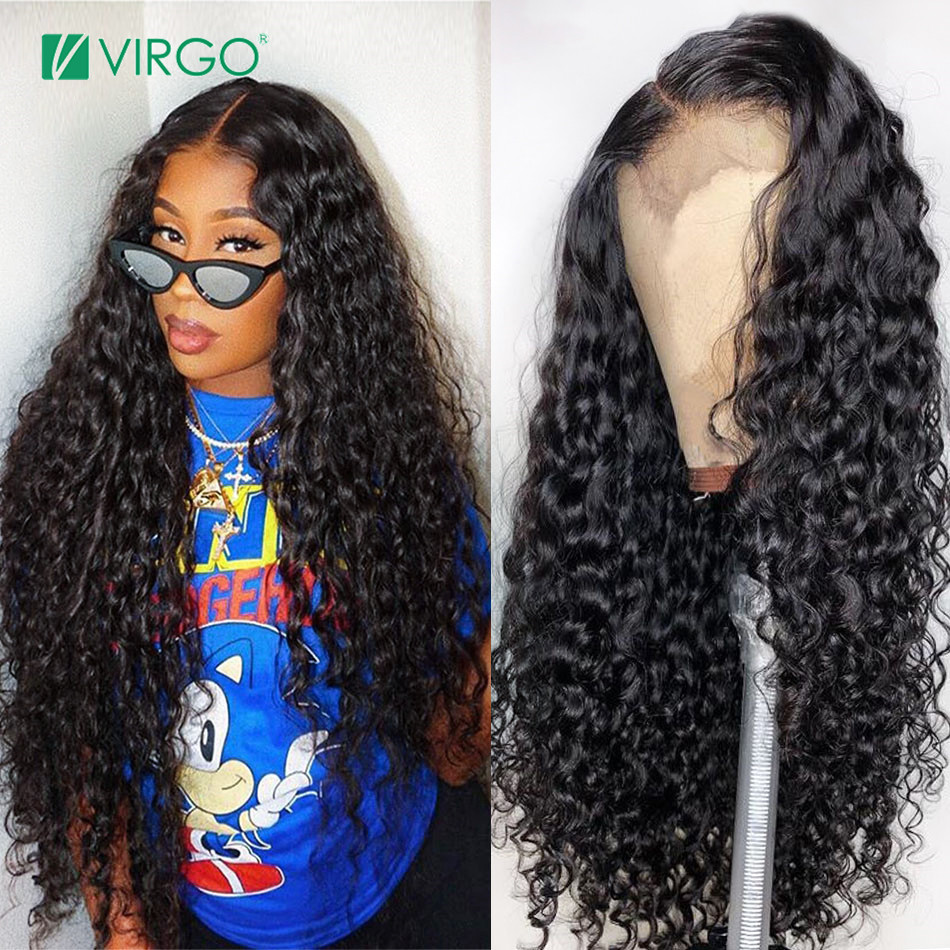 Volys Virgo Hair Peruvian Water Wave  4X4 Closure Wig Lace Human Hair Wigs For Black Women Remy Hair Pre Plucked Free Shipping