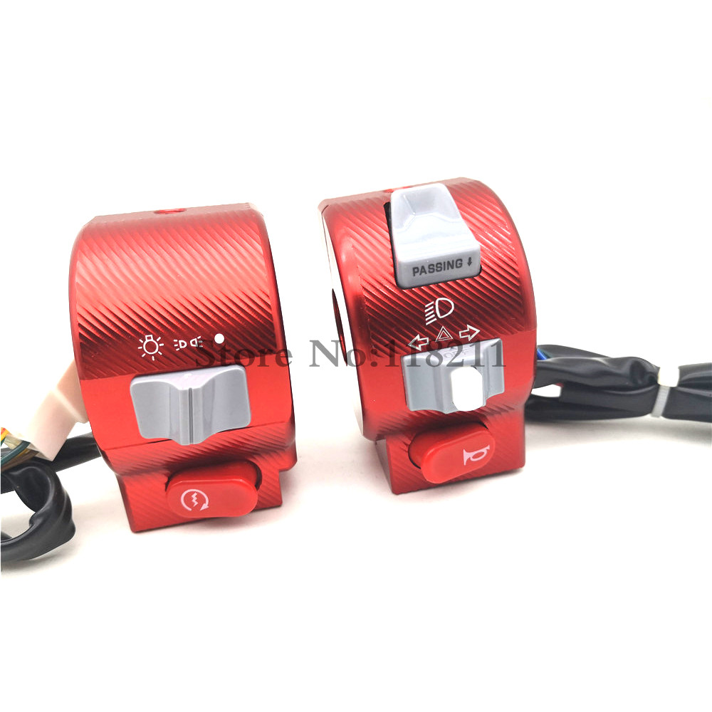 Electric Motorcycle Scooter Switch Assembly Cnc Aluminum Alloy 3D 22mm Handlebar Control Light Horn