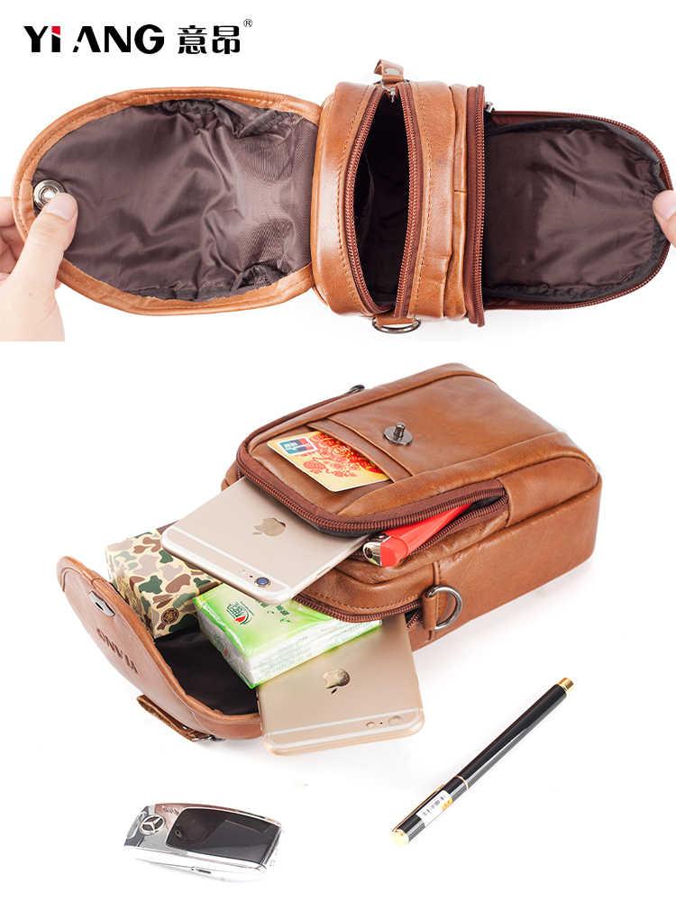 Männer Echtes Leder Sling Schulter Bag Handy-tasche Handy Fall Gürtel Fanny Taille Pack Haken Geldbörse mini Kreuz Körper Messenger taschen