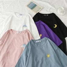 Ins de manga corta Camiseta femenina con capucha suelta camisa Corea Harajuku vintage verano nueva moda oversize casual camiseta femenina