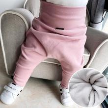 Новые зимние детские шаровары с мехом Хлопковые Штаны с высокой талией для малышей повседневные штаны для новорожденных свободные эластичные штаны для малышей