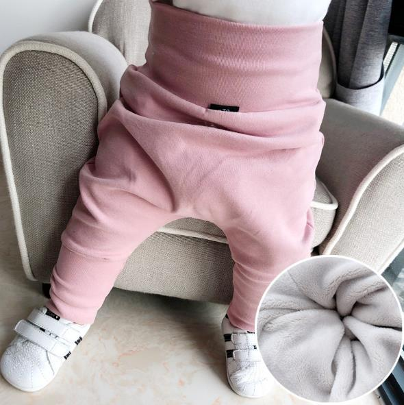 New Winter With Fur Baby Harem Pants Big PP High Waist Cotton Toddler Pants Newborn Casual Trousers Loose Infants Elastic Pants