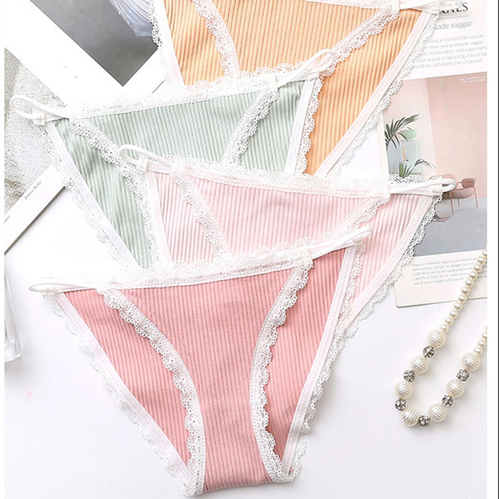 Woman Threaded Pure Cotton Crotch Middle Waist Panties Sexy Cotton Soft Comfortable Lace-up Girls Solid Color Panties