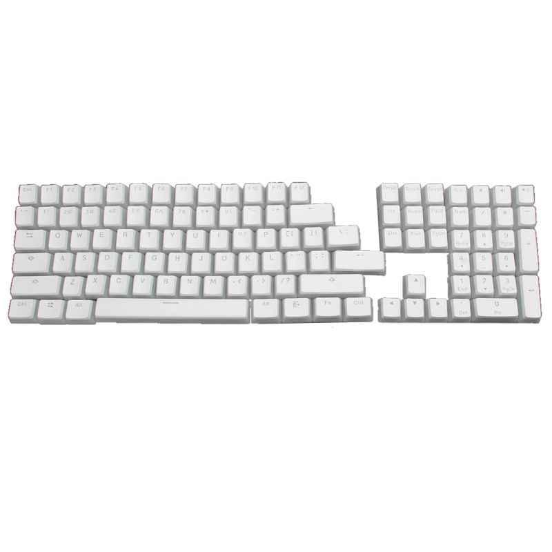 RGB 108 klawisze ANSI układ PBT biały budyń podwójna skóra mleko strzał podświetlany Keycap dla OEM Cherry MX gh60 poker 87 tkl 104 108