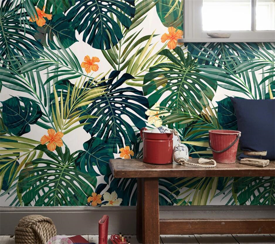 Custom Wallpaper 3d Papel De Parede Fresh Minimalist Green Hand Painted Tropical Rainforest Foliage TV Background Wall Paper 3d