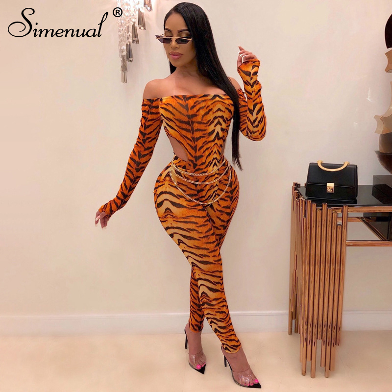 Simenual Leopard Fitness Fashion Matching Set Women Sexy Hot Off Shoulder Bodycon 2 Piece Outfits Long Sleeve Bodysuit And Pants
