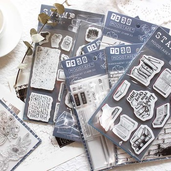 Fondo de etiqueta sellos transparentes claros Flor de planta número silicona sellos casa DIY álbum de recortes libro Retro No. Sello suave