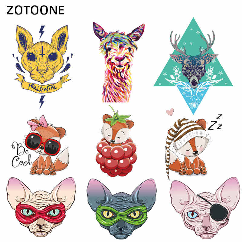 ZOTOONE Cute Cartoon Animal Patches Heat Transfer Iron on Patch for T-Shirt Children Gift DIY Clothes Stickers Heat Transfer I