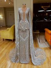 Błyszczące pełne cekinowe długie rękawy Mermaid suknie wieczorowe z Wrap luksusowa srebrna sukienka na studniówkę formalna strona suknia na konkurs piękności tanie tanio OEING O-neck CN (pochodzenie) Pełna Pociąg sweep Długość podłogi Prom dresses Cap sleeve Tulle Aplikacje Frezowanie
