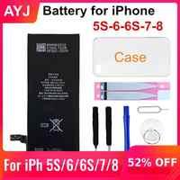 AYJ 1 pièce flambant neuf AAAAA qualité batterie de téléphone pour iPhone 6S 6 5S 5C 7 8 haute capacité réelle zéro Cycle outil gratuit boîtier à autocollants
