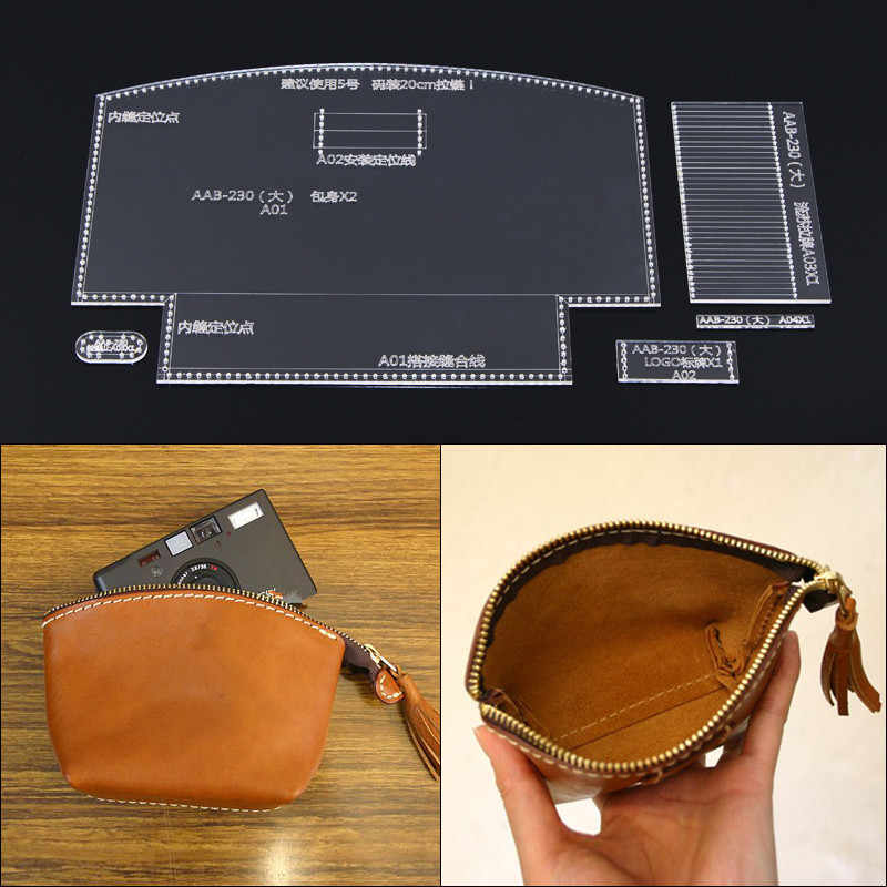 Purse Leather Craft Acrylic Wallet Bag Pattern Stencil Template Tool DIY  lPNH5