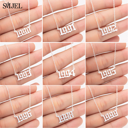 SMJEL Stainless Steel Special Date Necklaces for Women Personalize Jewelry 2020 1993 1995 1998 Birth Year Number Choker Family