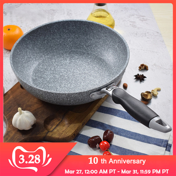 CAKEHOUD Japanese-style Maifan Stone Non-stick Flat Bottom Wok Deep Deep Frying Pan 24cm28cm Gas Cooker Universal Cookware