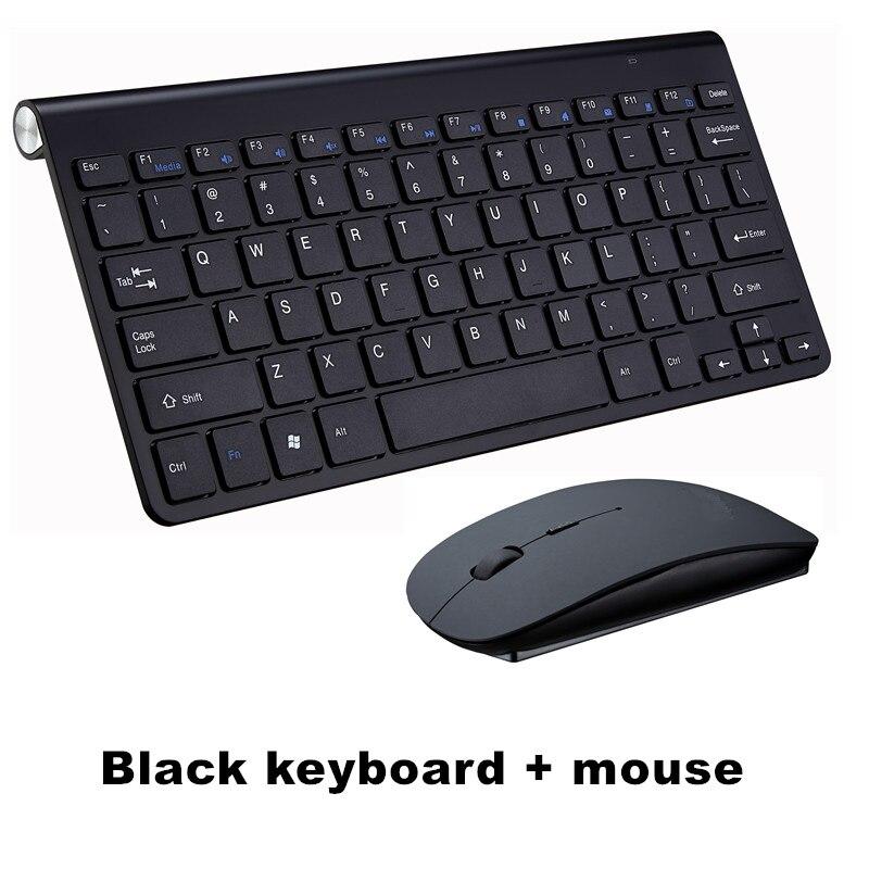 Ультра тонкая беспроводная клавиатура портативная 2,4G миниатюрная клавиатура с тачпадом Набор для Mac/notebook/tv Box/PC офисные принадлежности для IOS Android - Цвет: Black keyboard set