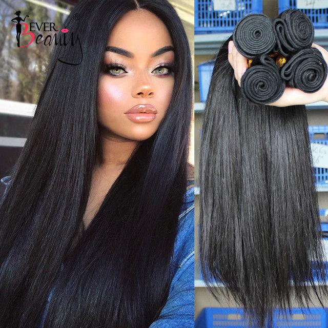 Straight Brazilian Hair Weave Bundles Human Hair Bundles With Closure Hair Extension Ever Beauty Natural Black Virgin