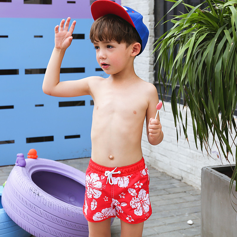 2020 New Style KID'S Swimwear Big Boy Red Flower Lace-up Cute Boy Beach Shorts Hot Springs Swimming Trunks