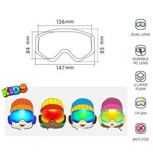 Image 5 - ילדי סקי משקפי UV400 אנטי ערפל כפול שכבות סקי מסכת משקפיים סנובורד החלקה Windproof משקפי שמש ילדים סקי משקפי