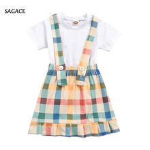 SAGACE Swimwear Kids Baby Girl Toddler Solid T-shirt+Rainbow Color Plaid Strap Swimsuit Skirt Outfits Set Children'S Swimwear(China)