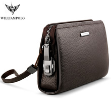 WILLIAMPOLO Brand Genuine Leather Mens Clutch Wallet With Coded Lock Cowhide Men Business Man Purse Handbag