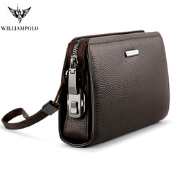 WILLIAMPOLO Brand Genuine Leather Mens Clutch Wallet With Coded Lock Cowhide Men Wallet Business Man Clutch Purse Mens Handbag