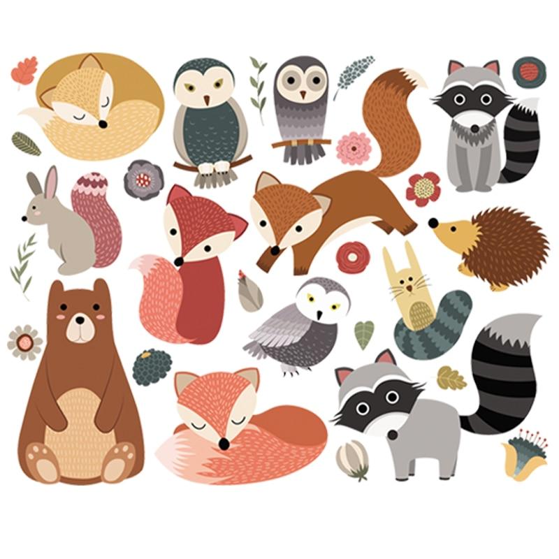 Набор стикеров с изображением лесных животных, сделай сам, моющаяся футболка с теплопередачей, джинсы, украшение, новая мода, железные накле...