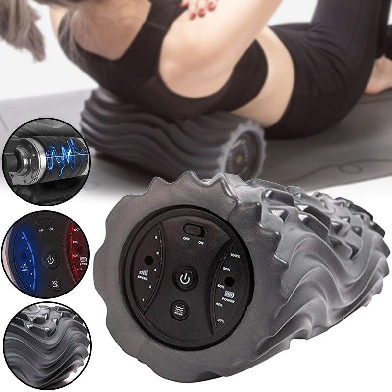 Columna de Yoga eléctrica eje de espuma músculo relajamiento estufa vibración masaje alivio del dolor rodillo BHD2
