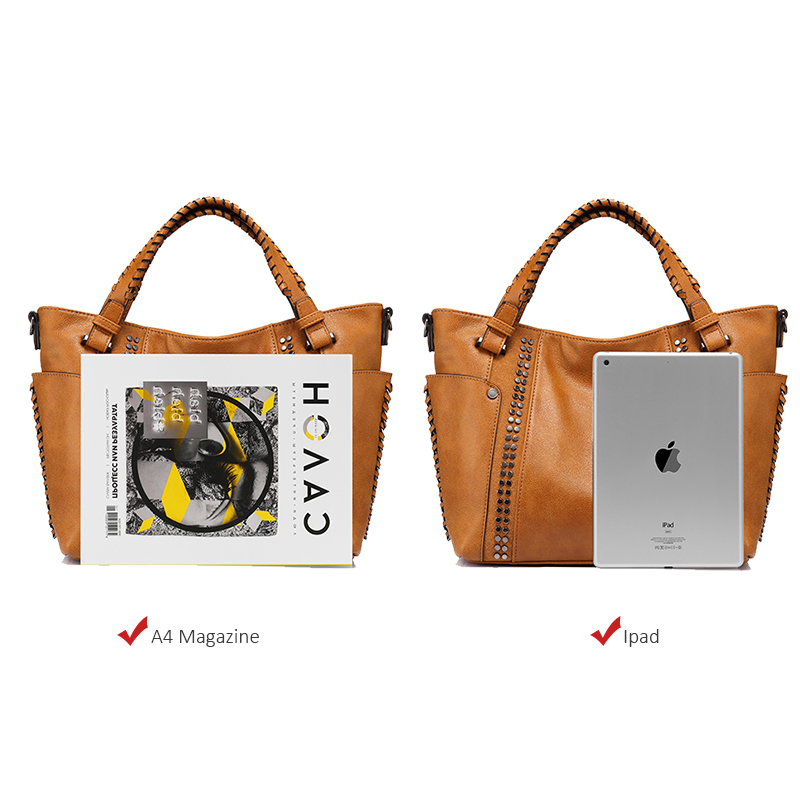 Image 5 - REALER women handbags female artificial leather totes ladies shoulder crossbody bag large messenger top handle bag rivets bucket-in Top-Handle Bags from Luggage & Bags
