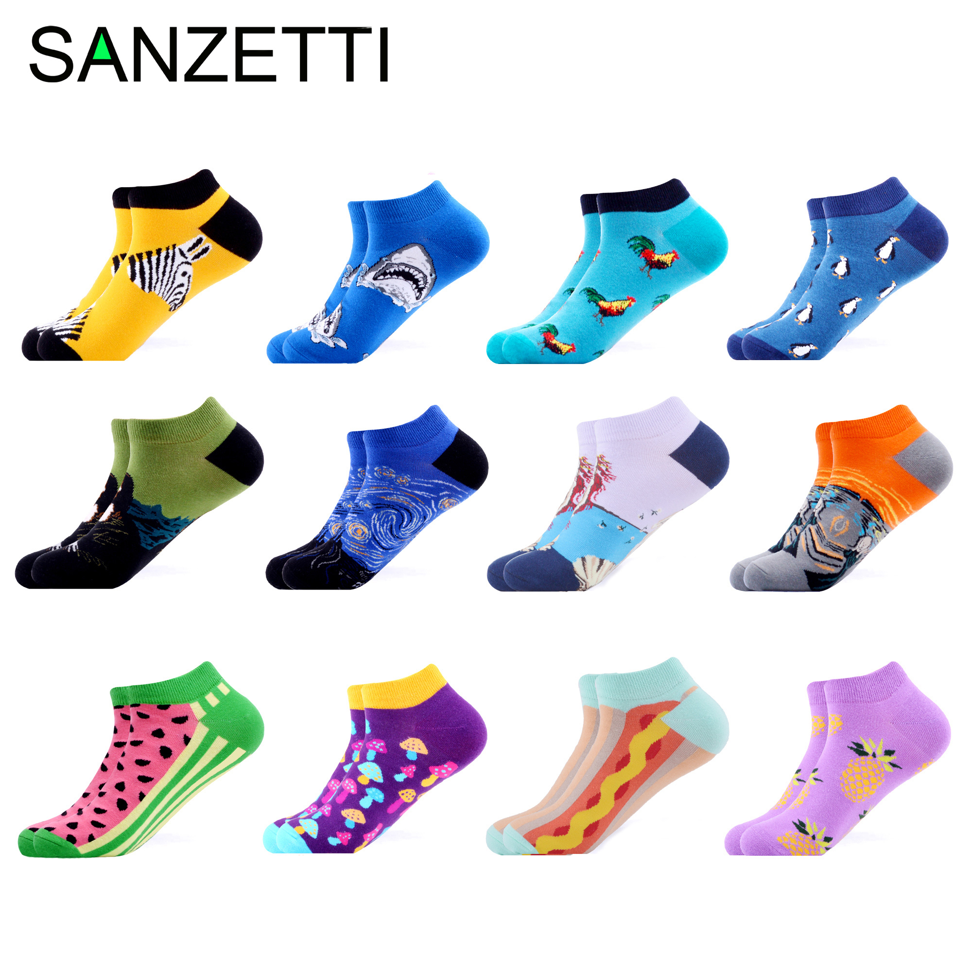 SANZETTI Hot Sale 12 Pairs Of Summer Ankle Socks Colorful Fun Shark Corn Wave Multiple Patterns Happy Combed Cotton Male Socks