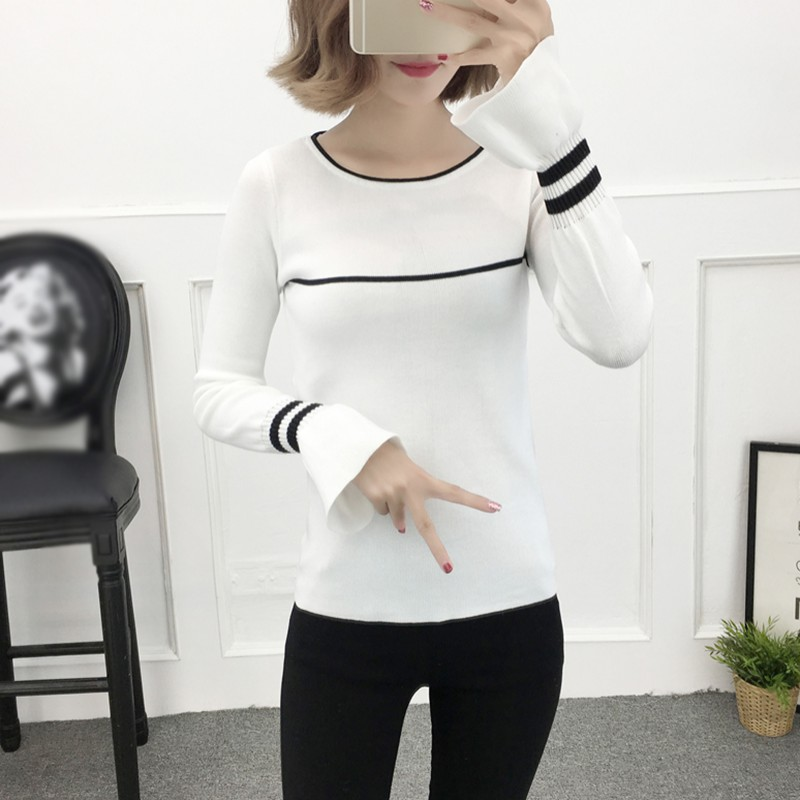 Autumn Winter O-Neck Women's Sweaters  Ruffled Striped Tops Pullovers Korean Knitting Casual Long Sleeve Sweater