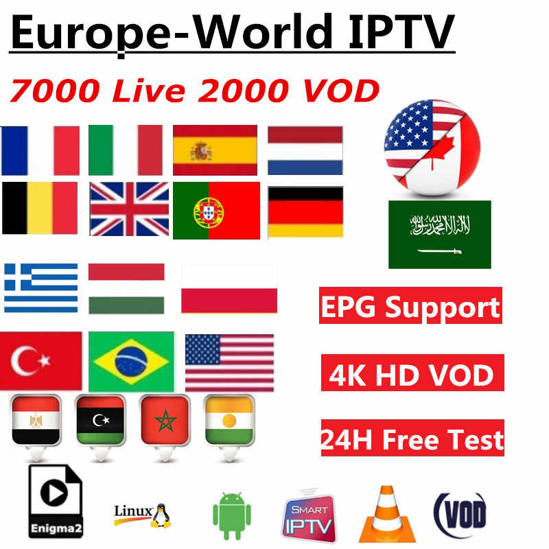 1/3/6/12 Months World Iptv Subscription Germany Dutch US UK Greek Portugal Spanish Russia Latin Africa 7000 Live 2000VOD EPG