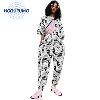 Print Sexy Two Piece Cartoon CharacterTracksuit for Women Round Neck Half Sleeve T Shirt + Causal Harem Pants Set Plus Size Set