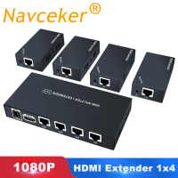 Super Quality 200ft 1x4 HDMI Splitter Extender 60m Over UTP RJ45 Cat5e Cat6 Cable Support HD 1080P 1 Transmitter To 4 Receivers