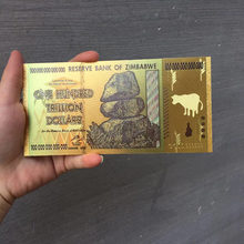 Памятные банкноты из черной золотой фольги 100 триллиона в Зимбабве