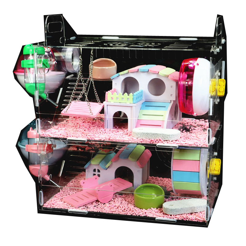 Hamster Cage Acrylic Transparent S Cottage Single Double Nest  Squirrel Toys Sets