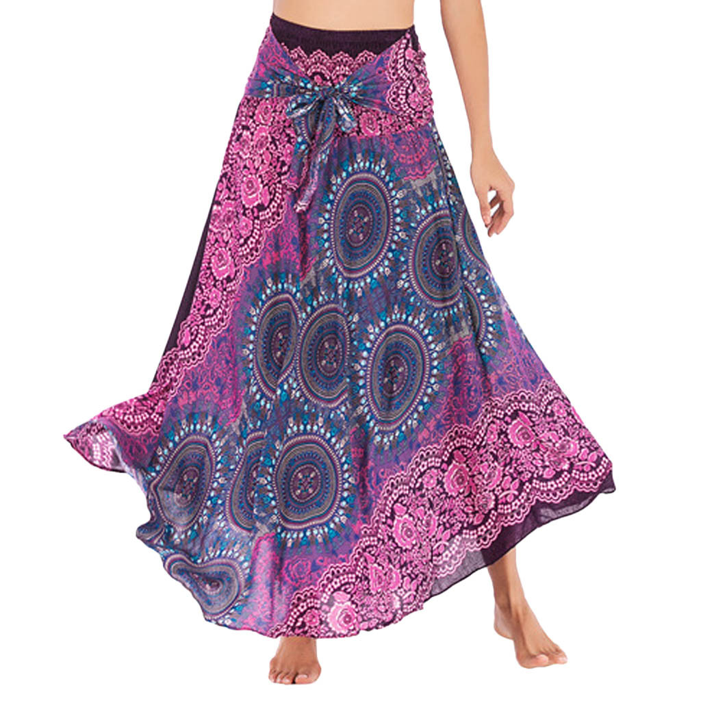 Women Casual Skirt Summer Fashion Long Hippie Bohemian Gypsy Boho Flowers Elastic Empire Waist Floral Halter A-Line Skirt