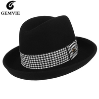 Classical Fedoras Women Jazz Cap Billycock Homburg Hat 100% Wool Fedora Hats Ladies Elegant Curved Brim Felt Hat With Plaid Band
