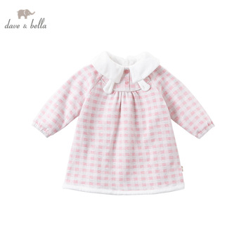 DBM14399 dave bella winter baby girl's cute cartoon plaid dress children fashion party dress kids infant lolita clothes image