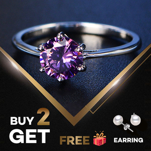 PANSYSEN Solid 100% 925 Sterling Silver created Amethyst Rings for Women Gemstone Fine Jewelry Ring Party Gifts Big Size 4-12(China)