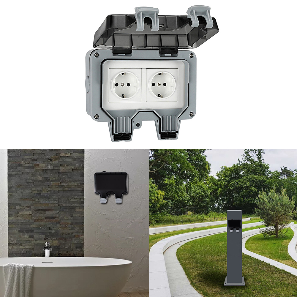 Ip66 Waterproof Weatherproof Outdoor Wall Power Socket 16a